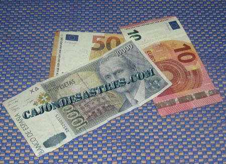 Pesetas y euros billetes