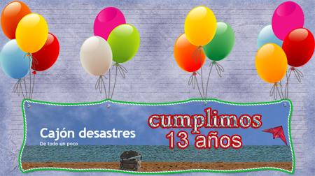 Tarjeta de felicitación 13 aniversario cajondesastres.com