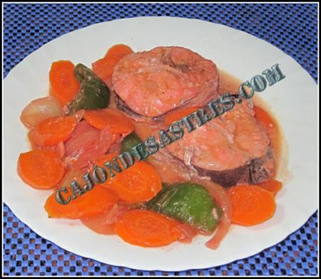 Merluza en salsa de zanahorias y Tandoori Masala