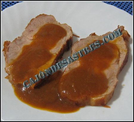 Cabeza de lomo de cerdo en salsa de verduras