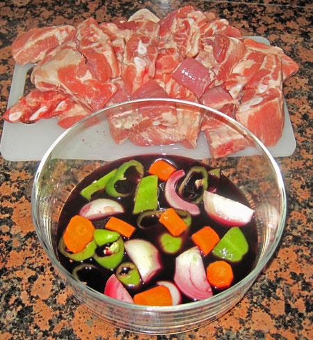 ingredientes costilla de cerdo en salsa de vino tinto